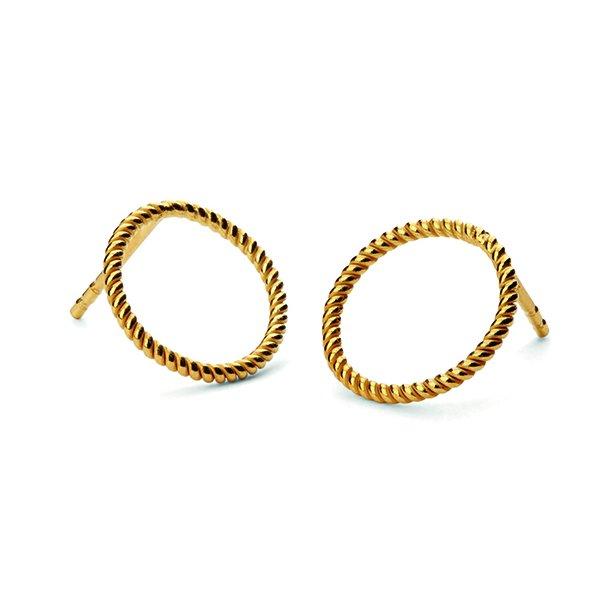 Pernille Corydon Twisted Open Coin Earsticks Forgyldt
