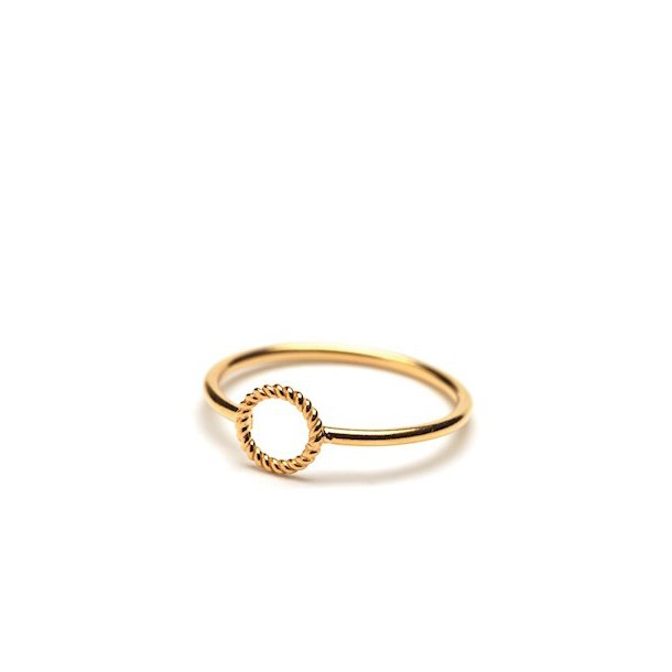 Pernille Corydon Mini Twisted Open Coin Ring Forgyldt