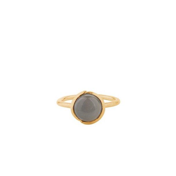 Pernille Corydon Aura Grey Moonstone Ring Adjustable Forgyldt